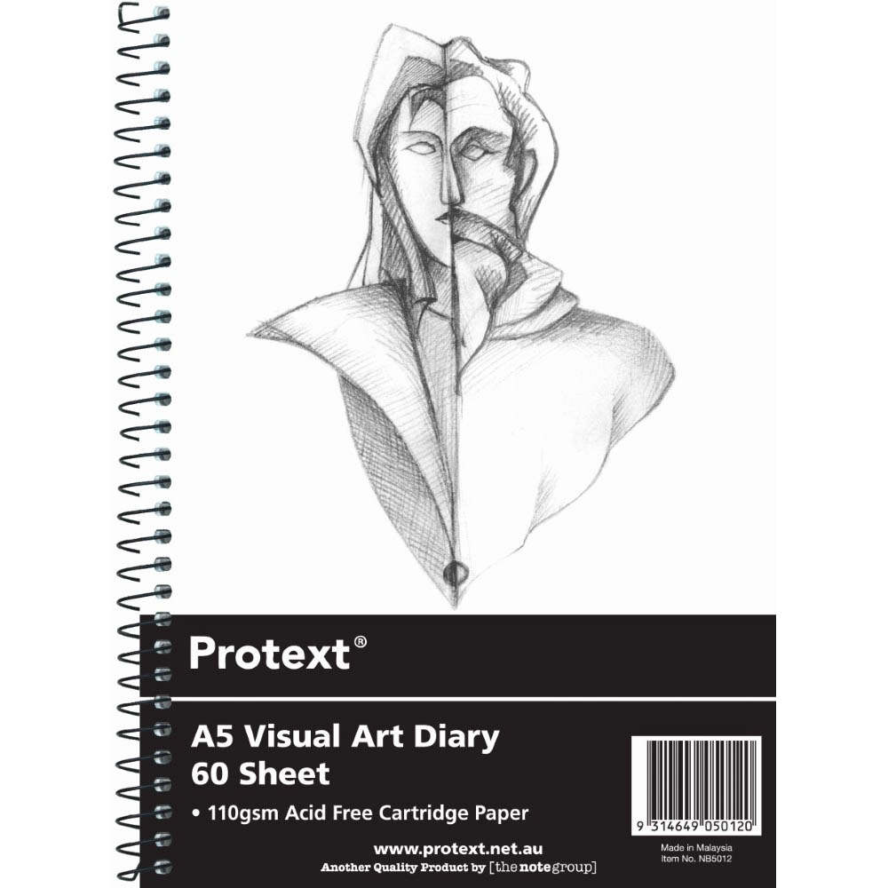 Image for PROTEXT VISUAL ART DIARY WITH PP COVER 110GSM 120 PAGES A5 from SBA Office National