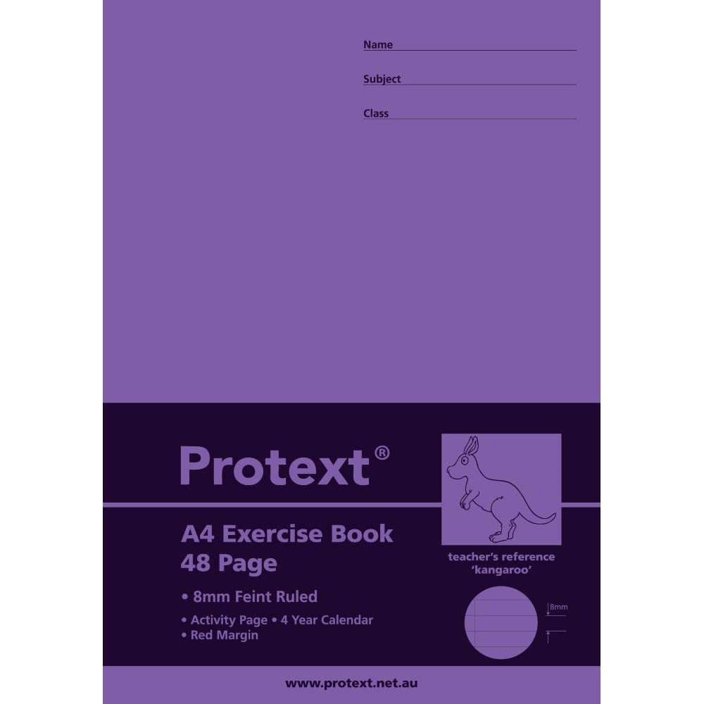 Image for PROTEXT EXERCISE BOOK RULED 8MM 70GSM 48 PAGE A4 KANGAROO ASSORTED from Wetherill Park / Smithfield Office National