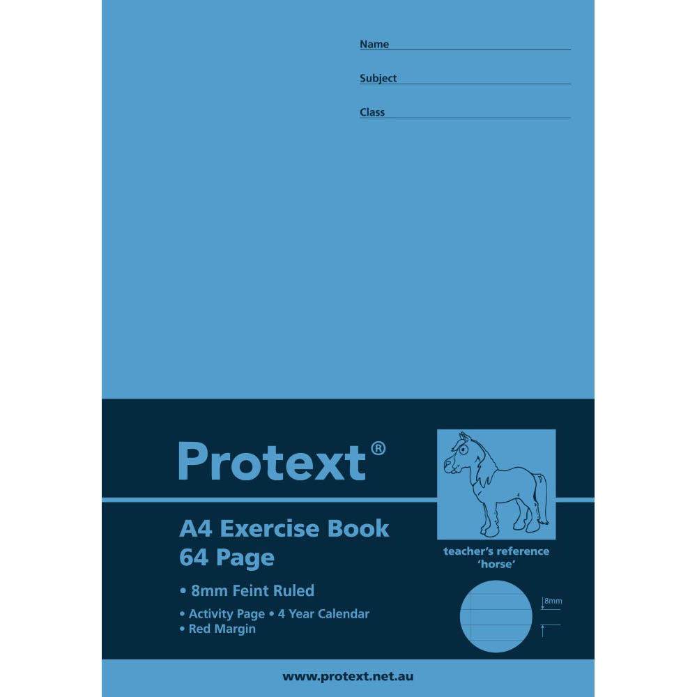 Image for PROTEXT EXERCISE BOOK RULED 8MM 70GSM 64 PAGE A4 HORSE ASSORTED from Our Town & Country Office National