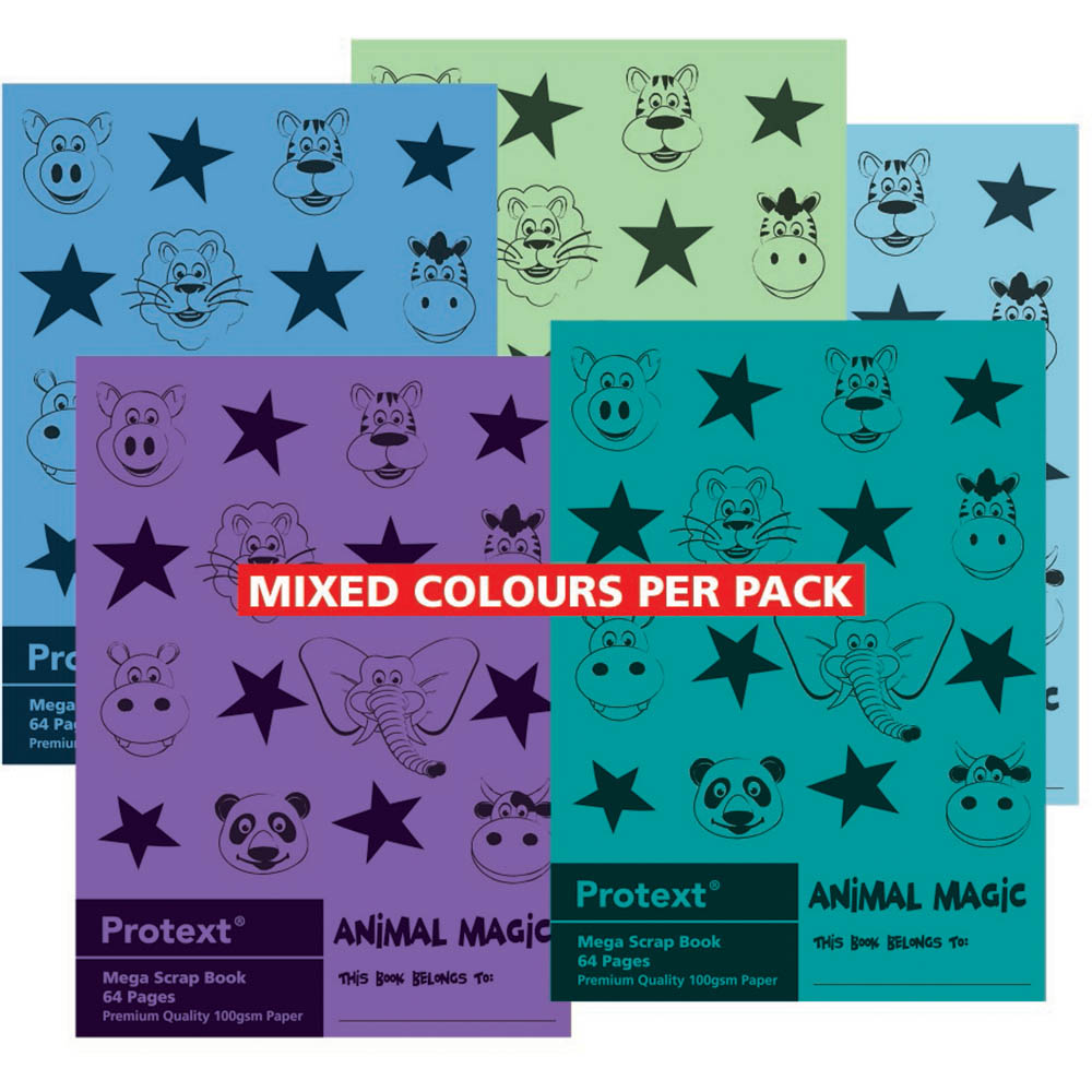 Image for PROTEXT ANIMAL MAGIC SCRAPBOOK 100GSM 64 PAGE 330 X 240MM ASSORTED from Wetherill Park / Smithfield Office National