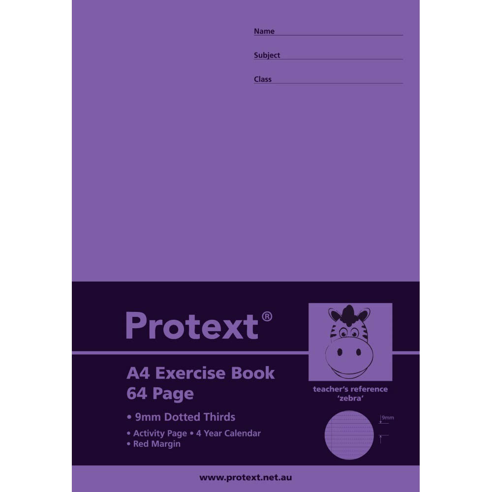 Image for PROTEXT EXERCISE BOOK DOTTED THIRDS 9MM 70GSM 64 PAGE A4 ZEBRA ASSORTED from Wetherill Park / Smithfield Office National