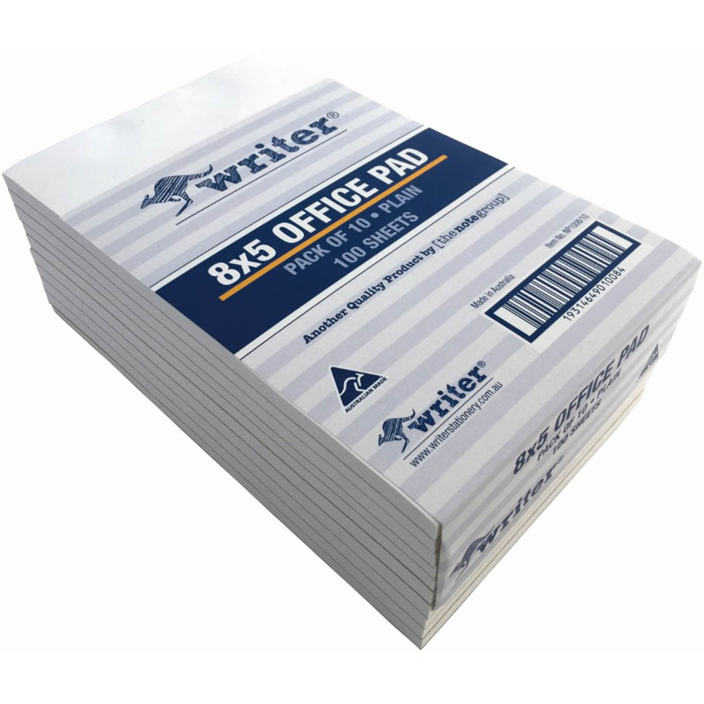 Image for WRITER BANK PAD PLAIN 50GSM 100 SHEETS 200 X 125MM WHITE from Paul John Office National