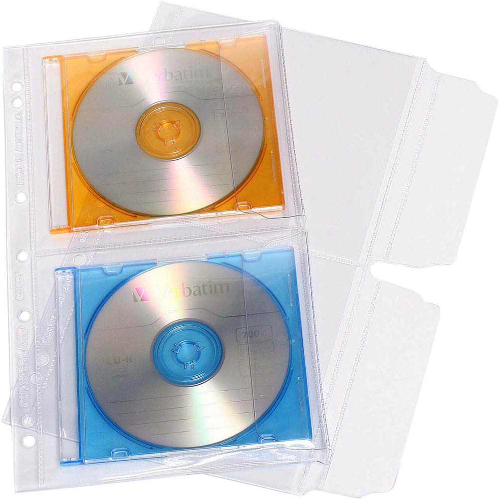 Image for CUMBERLAND CD/DVD POCKET 2 CAPACITY WITH FLAP PVC CLEAR PACK 10 from Pirie Office National