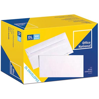 Image for OFFICE NATIONAL DL ENVELOPES SECRETIVE WALLET PLAINFACE SELF SEAL 80GSM 110 X 220MM WHITE BOX 500 from Mackay Business Machines (MBM)