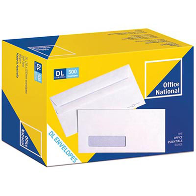 Image for OFFICE NATIONAL DL ENVELOPES SECRETIVE WALLET WINDOWFACE SELF SEAL 80GSM 110 X 220MM WHITE BOX 500 from Axsel Office National