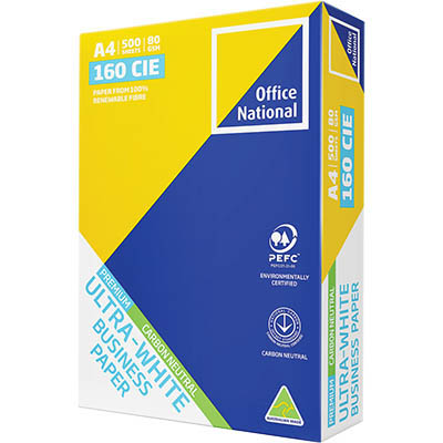 Image for OFFICE NATIONAL A4 ULTRA WHITE CARBON NEUTRAL COPY PAPER 80GSM WHITE PACK 500 SHEETS from Our Town & Country Office National