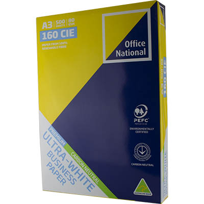 Image for OFFICE NATIONAL A3 ULTRA WHITE CARBON NEUTRAL COPY PAPER 80GSM WHITE PACK 500 SHEETS from Aztec Office National Melbourne