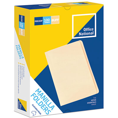 Image for OFFICE NATIONAL MANILLA FOLDERS FOOLSCAP BUFF BOX 100 from Paul John Office National