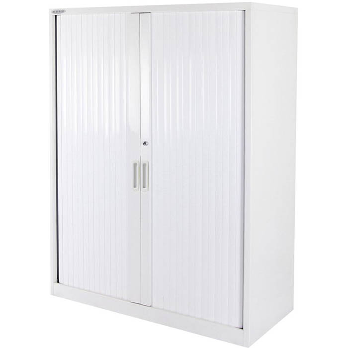 Image for STEELCO TAMBOUR DOOR CABINET 3 SHELVES 1200 X 1200 X 463MM WHITE SATIN from Pirie Office National