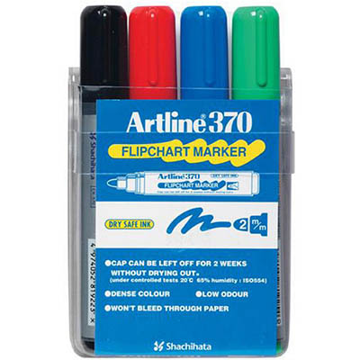 Image for ARTLINE 370 FLIPCHART MARKER BULLET 2.0MM ASSORTED WALLET 4 from Office National Perth CBD