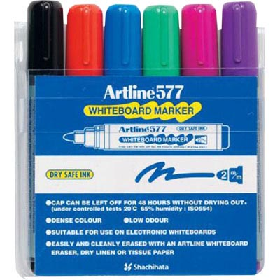 Image for ARTLINE 577 WHITEBOARD MARKER BULLET 3MM ASSORTED WALLET 6 from Office National Sydney Stationery