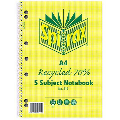 Image for SPIRAX 815 5-SUBJECT NOTEBOOK 7MM RULED 70% RECYCLED SPIRAL BOUND 250 PAGE A4 from Axsel Office National
