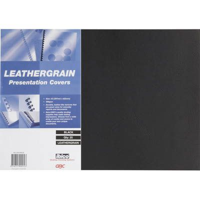 Image for GBC IBICO BINDING COVER LEATHERGRAIN 300GSM A3 BLACK PACK 25 from Wetherill Park / Smithfield Office National