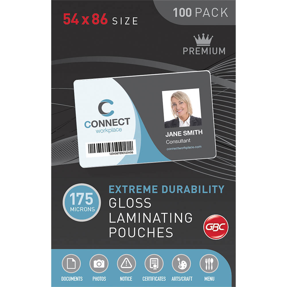 Image for GBC LAMINATING POUCH 175 MICRON 54 X 86MM CLEAR PACK 100 from Angletons Office National