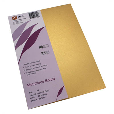 Image for QUILL METALLIQUE BOARD 285GSM A4 AUTUMN GOLD PACK 25 from Wetherill Park / Smithfield Office National