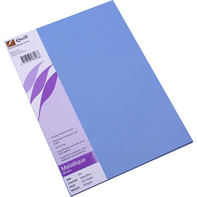 Image for QUILL METALLIQUE BOARD 285GSM A4 BLUE PACK 25 from Wetherill Park / Smithfield Office National