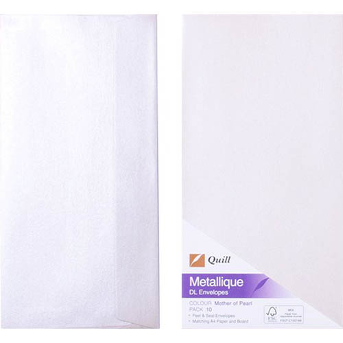 Image for QUILL DL METALLIQUE ENVELOPES PLAINFACE STRIP SEAL 80GSM 110 X 220MM PEARL PACK 10 from Paul John Office National