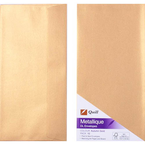Image for QUILL DL METALLIQUE ENVELOPES PLAINFACE STRIP SEAL 80GSM 110 X 220MM AUTUMN GOLD PACK 10 from Paul John Office National