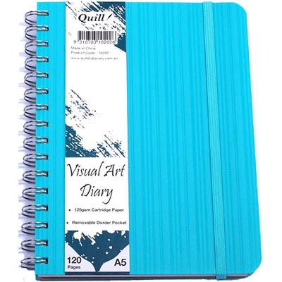 Image for QUILL VISUAL ART DIARY 125GSM 120 PAGE A5 PP AQUA from Wetherill Park / Smithfield Office National