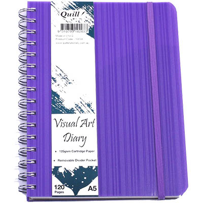 Image for QUILL VISUAL ART DIARY 125GSM 120 PAGE A5 PP VIOLET from Wetherill Park / Smithfield Office National
