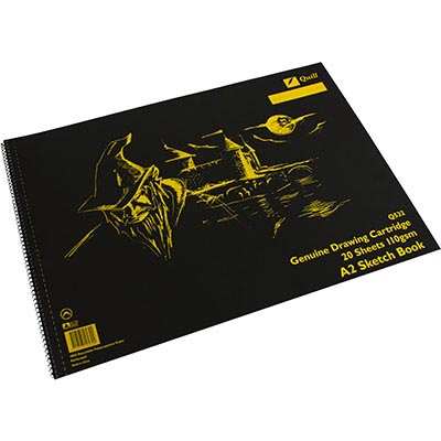 Image for QUILL Q532 SKETCH BOOK PP SHORT BOUND 110GSM A2 420 X 594MM 20 SHEETS BLACK from Wetherill Park / Smithfield Office National