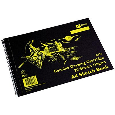 Image for QUILL Q534 SKETCH BOOK PP SHORT BOUND 110GSM A4 210 X 297MM 20 SHEETS BLACK from Wetherill Park / Smithfield Office National