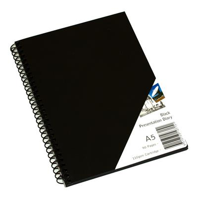 Image for QUILL VISUAL ART DIARY 110GSM 90 PAGE A5 PP BLACK from Wetherill Park / Smithfield Office National