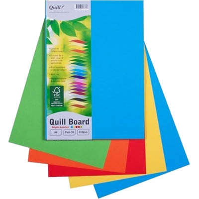 Image for QUILL XL MULTIBOARD 210GSM A4 ASSORTED BRIGHTS PACK 50 from Express Office National