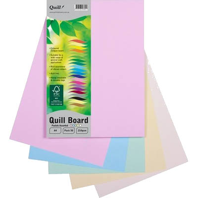 Image for QUILL XL MULTIBOARD 210GSM A4 ASSORTED PASTELS PACK 50 from Express Office National
