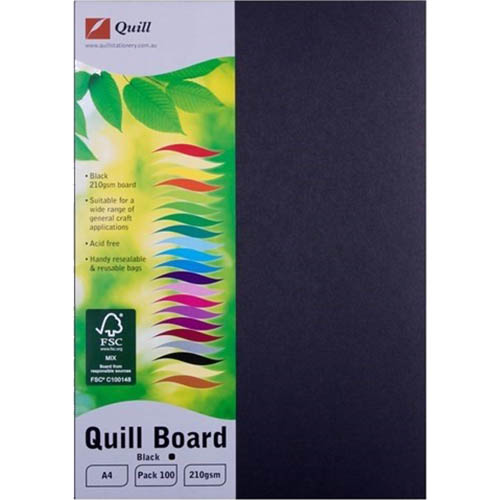 Image for QUILL XL MULTIBOARD 210GSM A4 BLACK PACK 100 from Express Office National