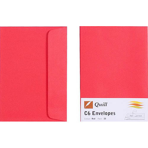 Image for QUILL C6 COLOURED ENVELOPES PLAINFACE STRIP SEAL 80GSM 114 X 162MM RED PACK 25 from Paul John Office National