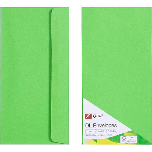 Image for QUILL DL COLOURED ENVELOPES PLAINFACE STRIP SEAL 80GSM 110 X 220MM LIME PACK 25 from Axsel Office National
