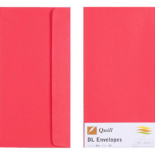 Image for QUILL DL COLOURED ENVELOPES PLAINFACE STRIP SEAL 80GSM 110 X 220MM RED PACK 25 from Paul John Office National