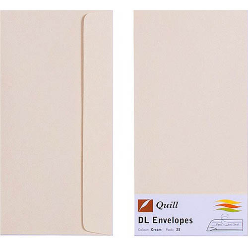 Image for QUILL DL COLOURED ENVELOPES PLAINFACE STRIP SEAL 80GSM 110 X 220MM CREAM PACK 25 from Axsel Office National