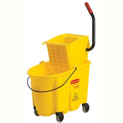 Image for RUBBERMAID WAVEBRAKE SIDE PRESS MOP BUCKET AND WRINGER 33 LITRE YELLOW from Office National Limestone Coast