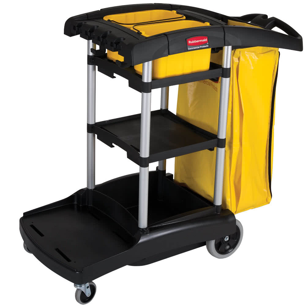 Image for RUBBERMAID HIGH CAPACITY JANITOR CART BLACK from Aztec Office National Melbourne