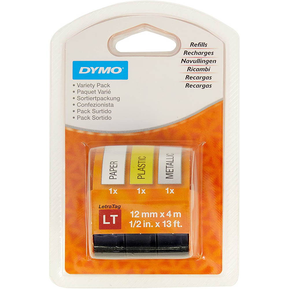 Image for DYMO 1989864 LETRATAG LABELLING TAPE 12MM VARIETY STARTER PACK 3 from Axsel Office National