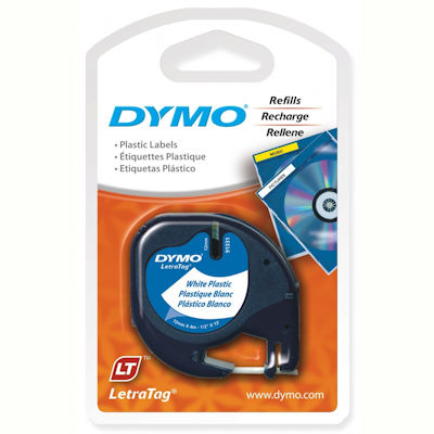 Image for DYMO 91331 LETRATAG PLASTIC LABELLING TAPE 12MM BLACK ON PEARL WHITE from Pirie Office National