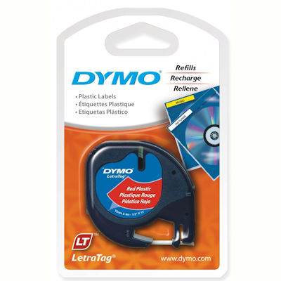 Image for DYMO 91333 LETRATAG PLASTIC LABELLING TAPE 12MM X 4M COSMIC RED from Pirie Office National