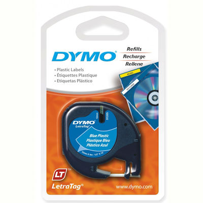 Image for DYMO 91335 LETRATAG PLASTIC LABELLING TAPE 12MM X 4M ULTRA BLUE from Pirie Office National