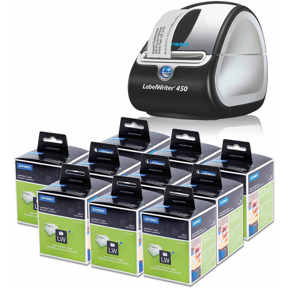 Image for DYMO LABELWRITER LW450 + 10 LW ADDRESS LABELS BUNDLE PACK from Connelly's Office National