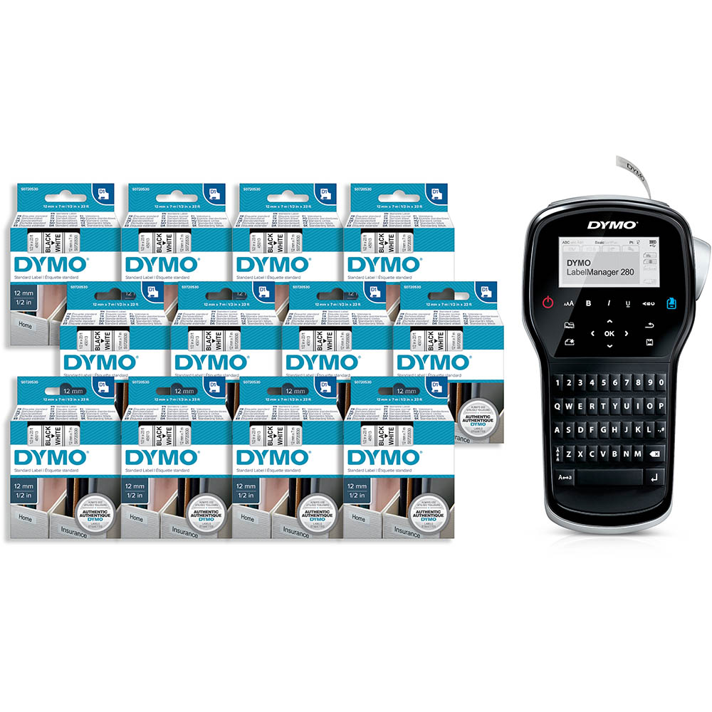 Image for DYMO LABELMANAGER 280P + 12 D1 TAPES BUNDLE PACK from Prime Office Supplies