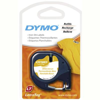 Image for DYMO 18771 LETRATAG LABELLING TAPE IRON ON 12MM X 2M BLACK ON WHITE from Pirie Office National