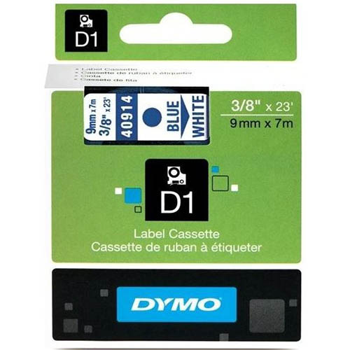 Image for DYMO 40914 D1 LABELLING TAPE 9MM X 7M BLUE ON WHITE from Our Town & Country Office National