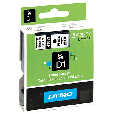 Image for DYMO 43613 D1 LABELLING TAPE 6MM X 7M BLACK ON WHITE from Our Town & Country Office National