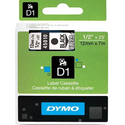 Image for DYMO 45010 D1 LABELLING TAPE 12MM X 7M BLACK ON CLEAR from Our Town & Country Office National