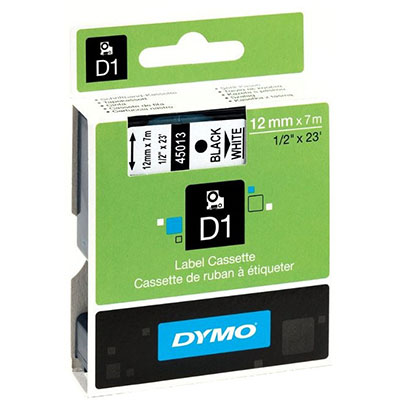 Image for DYMO 45013 D1 LABELLING TAPE 12MM X 7M BLACK ON WHITE from Our Town & Country Office National