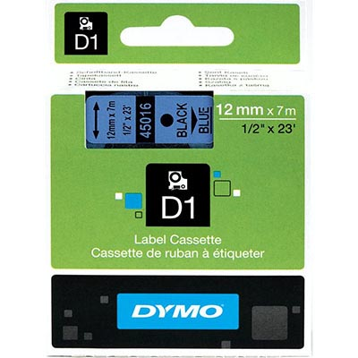 Image for DYMO 45016 D1 LABELLING TAPE 12MM X 7M BLACK ON BLUE from Our Town & Country Office National