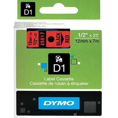 Image for DYMO 45017 D1 LABELLING TAPE 12MM X 7M BLACK ON RED from Our Town & Country Office National