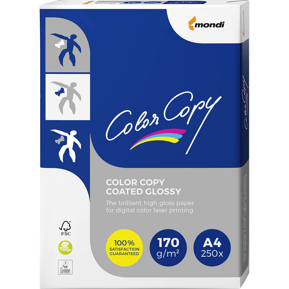 Image for MONDI COLOR COPY A4 COPY PAPER GLOSSY COATED 170GSM WHITE PACK 250 SHEETS from Pirie Office National